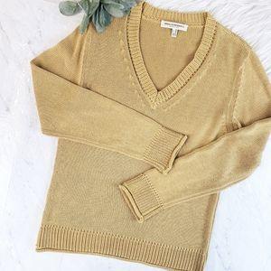 Maria Di Ripabianca Goldenrod V Neck Knit Sweater